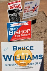 Political signs for Bruce Williams and other candidates for the March 3, 2020, primaries.