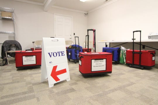 Election materials sit inside the Madison County Board of Elections office on Election Night, March 3.