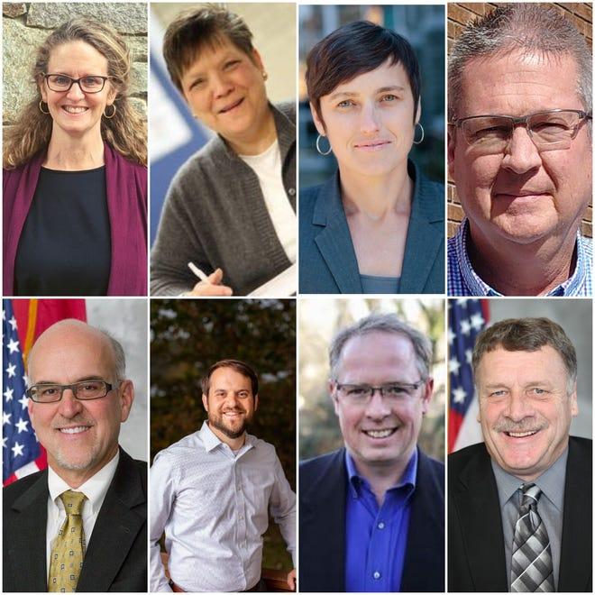 From left, Terri Wells, Glenda P. Weinert, Jasmine Beach-Ferrera, Anthony Penland, Joe Belcher, Parker Sloan, Brownie Newman and Robert Pressley are running in 2020 for Buncombe board of commissioners seats.