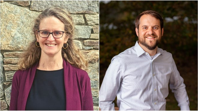 Terri Wells (left) and Parker Sloan are the unofficial winners of Buncombe's board of commissioners Democratic primaries in District 1 and 3, respectively.