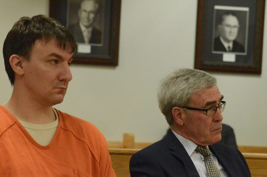 Jonathan Budnick and his attorney, J. Thomas Schaeffer listen to testimony Wednesday.