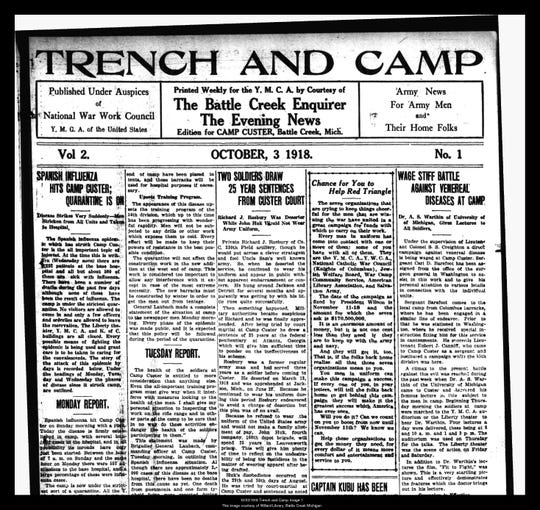 The October 3, 1918 edition of Trench and Camp, a weekly publication of the Battle Creek Enquirer on the happenings in Camp Custer.