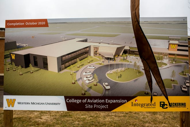 A rendering of Western Michigan University's site project is pictured at Battle Creek Executive Airport at Kellogg Field on Wednesday, March 4, 2020 in Battle Creek, Mich.