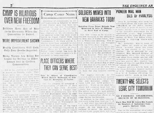 Page 2 of the October 23, 1918 edition of the The Battle Creek Enquirer and Evening News, after the quarantine had been lifted at Camp Custer.