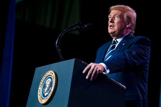 President Donald Trump speaks to the National Association of Counties Legislative Conference, Tuesday, March 3, 2020, in Washington. (AP Photo/Evan Vucci)
