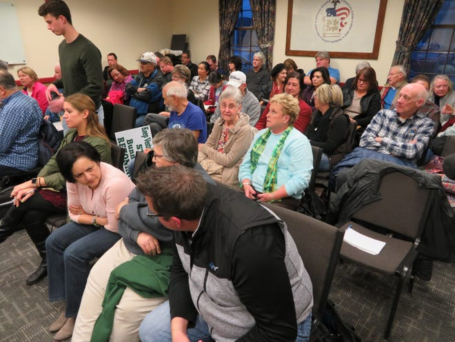 The public jammed the meeting room at Vestal Town Hall on Tuesday, March 3, 2020, as the Planning Board listened to plans for a multi-unit housing project on Bunn Hill Road.