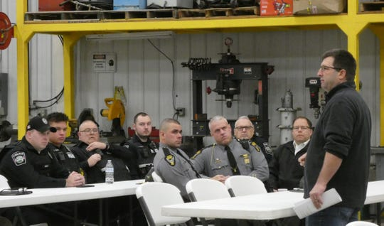 Crawford County EMA Director Kirk Williamson speaks to participants as the annual LEPC training exercise got started Wednesday morning at Sunrise Cooperative in Crestline.