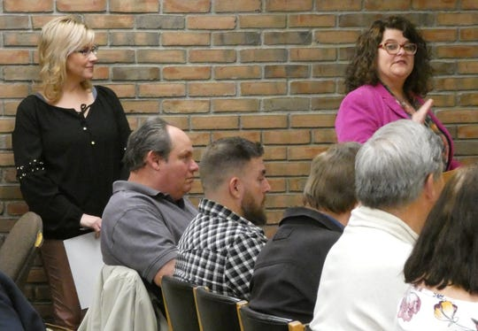 Kelli Patterson, left, and Rhonda Rowland of the Bucyrus Bicentennial Commission outline plans for the 2021 celebration during Bucyrus City Council's meeting Tuesday.