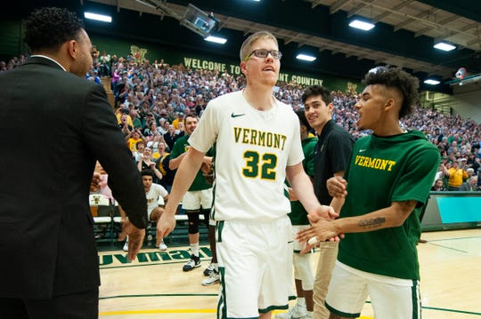Vermont's Josh Speidel (32) takes the court during the men's basketball game between the Albany Great Danes and the Vermont Catamounts at Patrick Gym on Tuesday night March 3, 2020 in Burlington, Vermont.