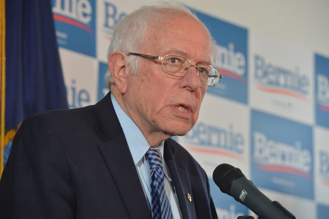 Bernie Sanders reacts to Super Tuesday results during a press conference on March 4 in Burlington, Vermont.