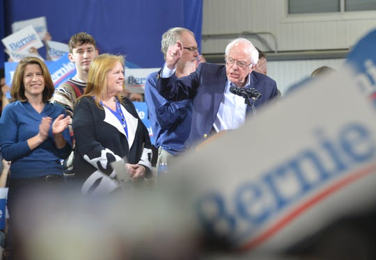 Bernie Sanders speaks to an enthusiastic crowd at his Super Tuesday rally in Essex Junction March 3, 2020