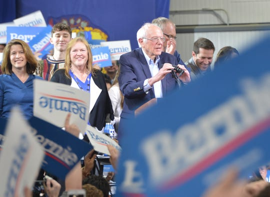 Presidential hopeful Bernie Sanders speaks to an enthusiastic crowd at his Super Tuesday rally in Essex Junction, Vermont.