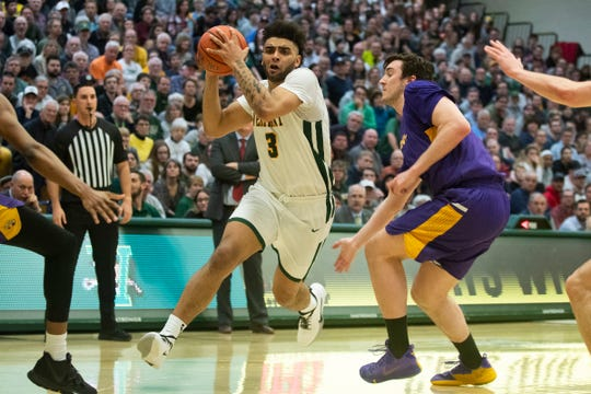 Vermont's Anthony Lamb (3) drives to the hoop during the men's basketball game between the Albany Great Danes and the Vermont Catamounts at Patrick Gym on Tuesday night March 3, 2020 in Burlington, Vermont.