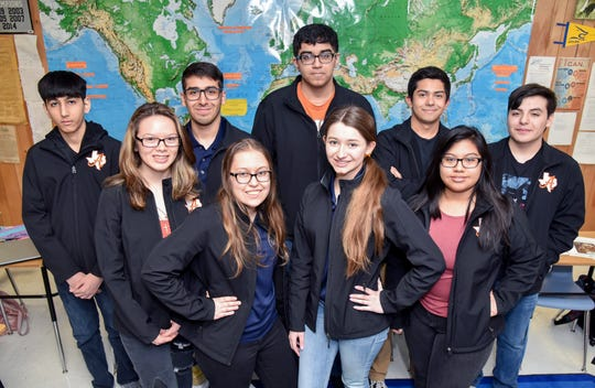 Alice High School's Academic Decathlon team is the No. 1 team in the state in the medium school category, and the team will compete at the state competition March 6 and 7. In the back row, from the left, are Shan Shah, Justin Pastrano, Ali Shah, Victor Trent Rodriguez and Gavin Zerrato. In the front row, from the left, are Audrey Joslin, Genevieve Toureilles, Madison Timmons and Ruth Jimenez.