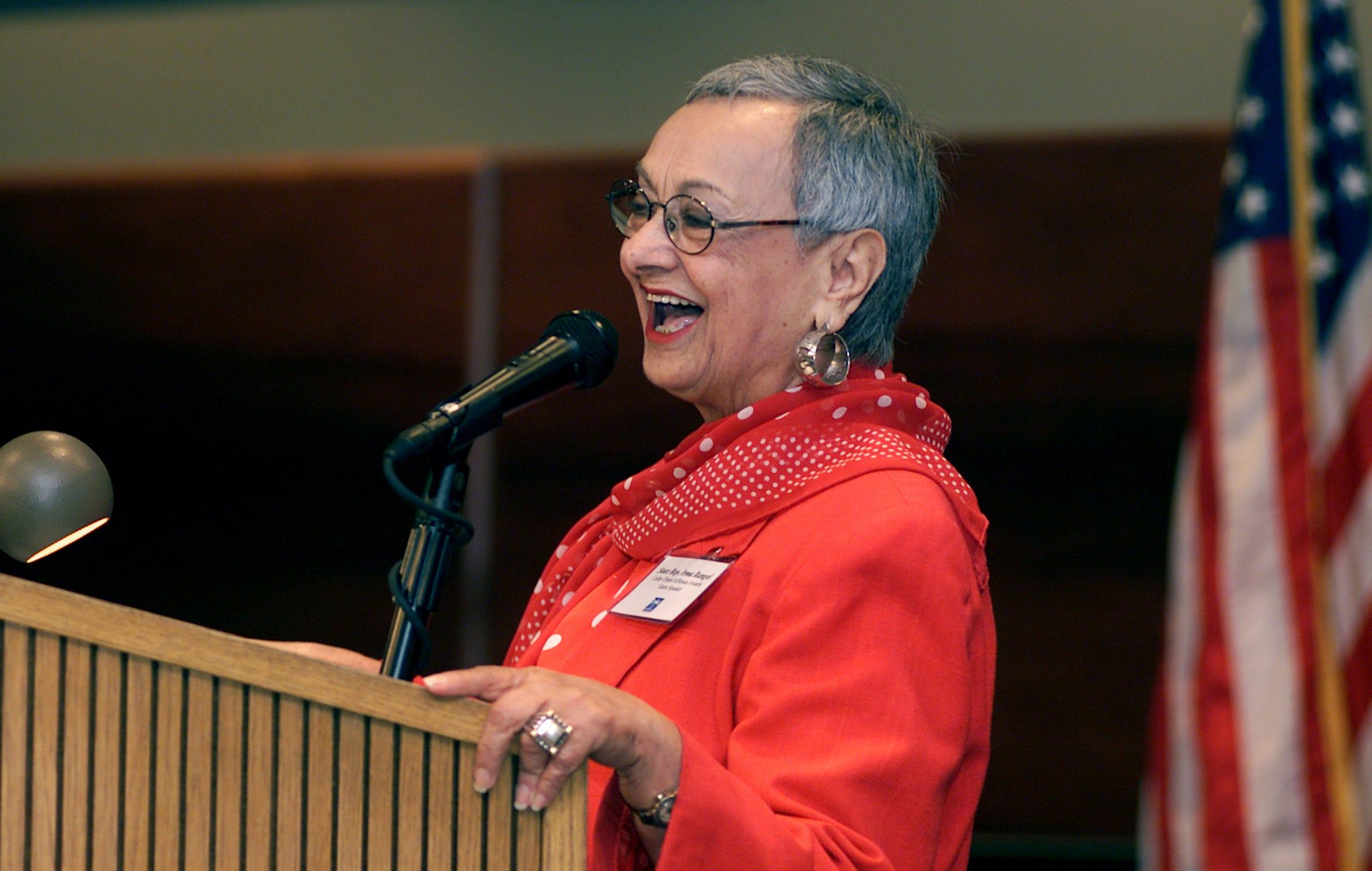 State representative Irma Rangel speaks at the Jefferson Volunteer Awards ceremony at the Solomon Ortiz Center in April 2002.