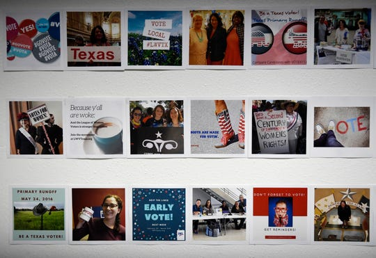 Photos of voting are seen in the League of Women Voters, Tuesday, Feb. 4, 2020, in Austin. The organization works to help women participate in public affairs and voting.
