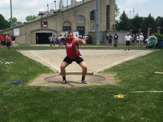 Zane Trace's Walt Petzel competes in the shot put during a Midwest Meet of Champions at Ohio Wesleyan. Petzel placed fourth.