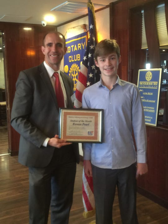 Rotary President Jarrett Dewelde and Rowan Pearl, student of the month.