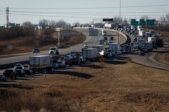 A crash on 80/35 at the east mixmaster causes major backups Wednesday morning on Wednesday, March 4, 2020, in Des Moines.