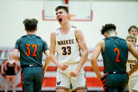 Waukee's Lincoln Swanson celebrates during the Waukee vs. West Des Moines Valley boys substate final game on Tuesday, March 3, 2020, in the Dallas Center-Grimes High School gym.