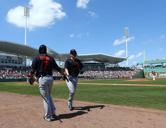 Tigers designated hitter Frank Schwindel, right, is congratulated as he hits a home run during the first inning against the Boston Red Sox on Wednesday, March 4, 2020, at JetBlue Park in Fort Myers, Florida.
