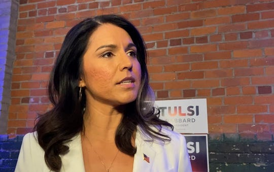 U.S. Rep. Tulsi Gabbard, D-Hawaii, speaks at The Eastern venue in Eastern Market in Detroit while on the campaign trail Tuesday, March 3, 2020.