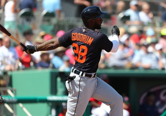 Tigers shortstop Niko Goodrum singles during the first inning against the Boston Red Sox on Wednesday, March 4, 2020, at JetBlue Park in Fort Myers, Florida.