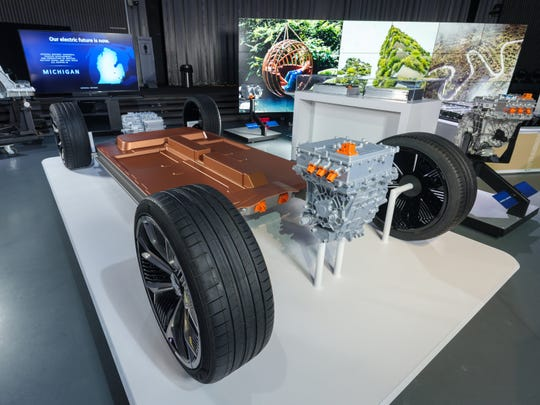 General Motors reveals its all-new modular platform and battery system, Ultium, on Wednesday at the Tech Center campus in Warren.