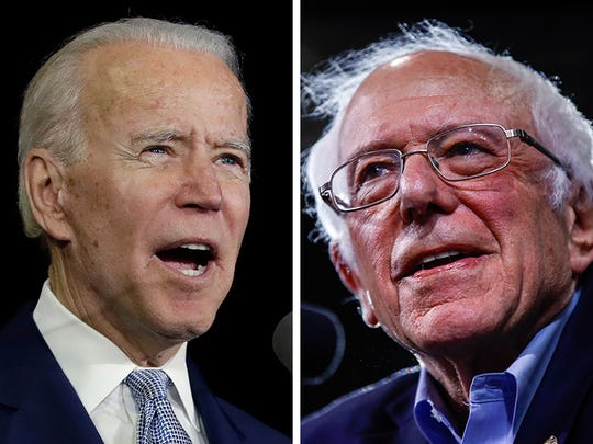 Former Vice President Joe Biden, left, and Sen. Bernie Sanders, I-Vt.