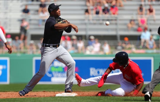 Mar 4, 2020; Fort Myers, Florida, USA; Detroit Tigers second baseman Jonathan Schoop (8) forces out Boston Red Sox shortstop Jeter Downs (20) and throws the ball to first base for a double play during the second inning at JetBlue Park. Mandatory Credit: Kim Klement-USA TODAY Sports