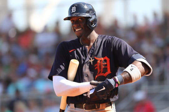 Tigers right fielder Cameron Maybin looks on while at bat during the fifth inning against the Boston Red Sox on Wednesday, March 4, 2020, at JetBlue Park in Fort Myers, Florida.