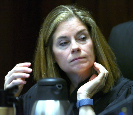 Michigan Supreme Court Chief Justice Bridget M. McCormack hears a case.