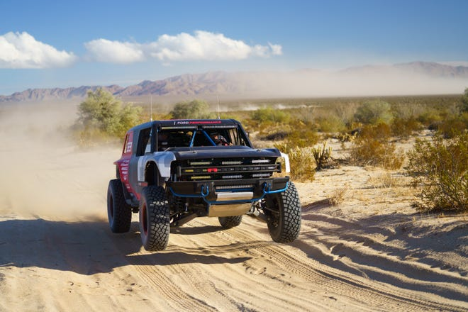 The Bronco R race prototype competed in at the famed SCORE Baja 1000 desert race in November.