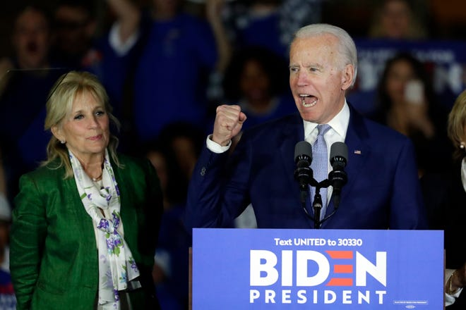 Democratic presidential candidate former Vice President Joe Biden, accompanied by his wife Jill Biden, speaks at a primary election night campaign rally Tuesday, March 3, 2020, in Los Angeles.