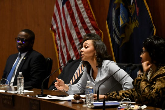 Detroit City Council President Pro Tem Mary Sheffield speaks during a public hearing regarding overtaxation of Detroit homeowners.