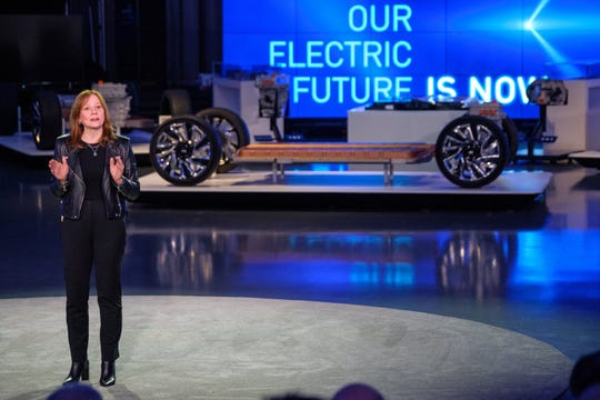 General Motors Co. Chairman and CEO Mary Barra speaks at a March 4 event detailing GM's $20 billion investment in electric vehicles in order to address climate change.