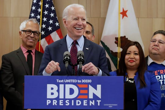Democratic presidential candidate former Vice President Joe Biden speaks Wednesday, March 4, 2020, in Los Angeles.