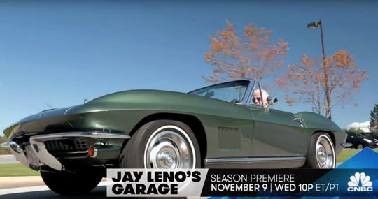 "Vice-President Joe Biden drives his 1967 Corvette Stingray during an episode of ""Jay Leno's Garage"" on CNBC. Biden is the car's original owner."