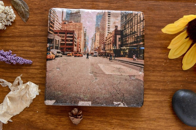 Sydney Kispert-Bostick's Woodstock Rd. combines decoupage and photography on home decor items. She'll be one of the vendors at National All Things Detroit Day April 5 at Eastern Market.