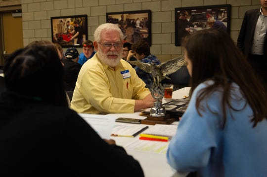 New Tech students interviewed several military veterans during the school's 7th annual Hoosier Veteran Consortium Wednesday.