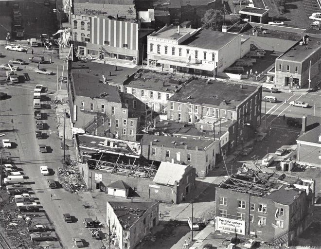 An aerial view of tornado damage in 1977 in Fremont.