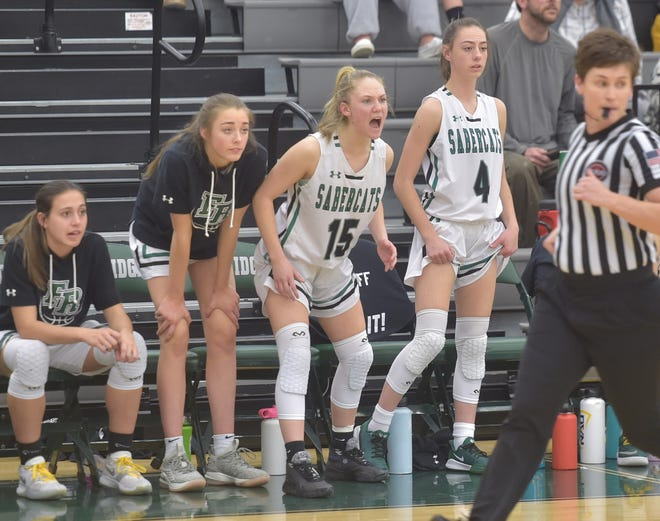Fossil Ridge High School girls basketball players cheer from the bench during a win over visiting Vista Peak on March 3, 2020, in the third round of the Class 5A playoffs.
