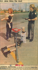 An April 1986 clipping in the Coloradoan shows the results of G.I. Jane's run in with a semi-truck. The mannequin was soon replaced, returning to her corner of College Avenue and Jefferson Street as a mascot of Rocky Mountain Surplus, which would later become Jax Surplus.