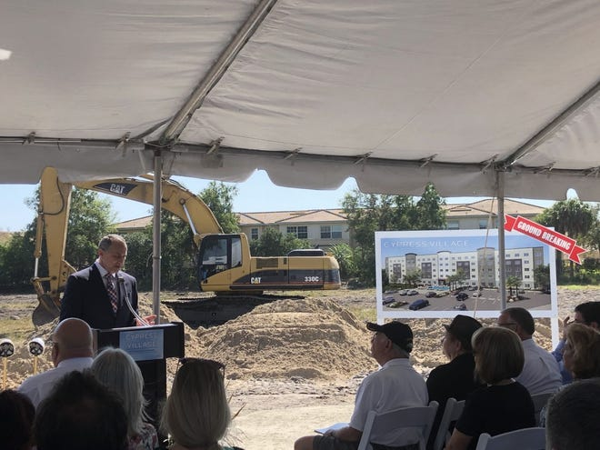 Shawn Wilson, president and CEO of Blue Sky Communities, speaks during the groundbreaking at Cypress Village, an affordable housing community.