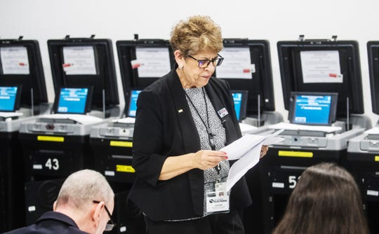 Lee Carr, chief deputy, operations for Lee County Supervisor of Elections reads the results during a logic and accuracy testing in front of the Lee County canvassing board at the Lee County Elections Center in Fort Myers on Wednesday, March 4, 2020. The tabulators are ready to go for early voting and election day.