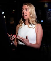 Adrianne Haslet, who lost her left foot in the 2013 Boston Marathon bombing survivor, shared her story on Tuesday during the Bellin Run's 2020 Kids for Running kick-off event at Green Bay Distillery  in Ashwaubenon.