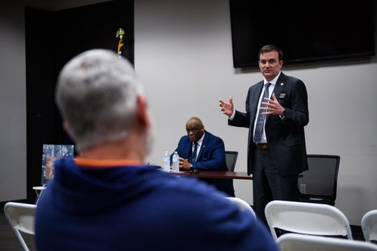 Greenville County Sheriff candidate Hobart Lewis speaks during a debate with candidate Paul Guy at the Travelers Rest Fire Department Tuesday, March 3, 2020.