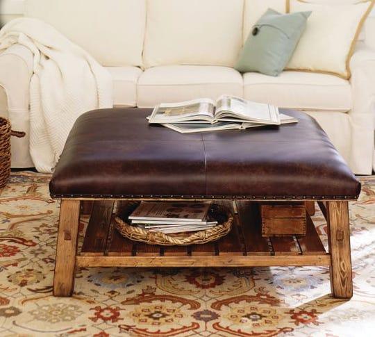 PB leather ottoman