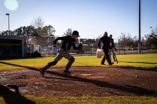 Daryn Reese of the Carolina High School baseball team during practice, Friday, February 21, 2020.