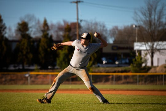 Daniel Woodard of the Carolina High School baseball team during practice, Friday, February 21, 2020.